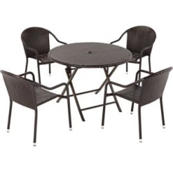 Palm Harbor Outdoor Wicker 5-Piece Cafe Dining Set (7J991)