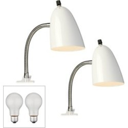 Set of 2 White Gooseneck Headboard Clip Lamps with LED Bulbs (43W26) found on Bargain Bro Philippines from Lamps Plus for $93.96