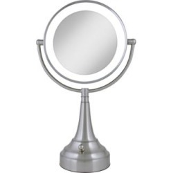 Satin Nickel Double-Sided Round LED Vanity Mirror (R3060) found on Bargain Bro India from Lamps Plus for $139.99