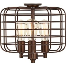 Industrial Cage Oil-Rubbed Bronze LED Ceiling Fan Light Kit (58E22) found on Bargain Bro Philippines from Lamps Plus for $100.00