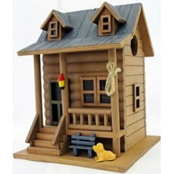 Log Cabin Brown and Blue Wood Hanging Birdhouse (82V72) found on Bargain Bro Philippines from Lamps Plus for $41.31