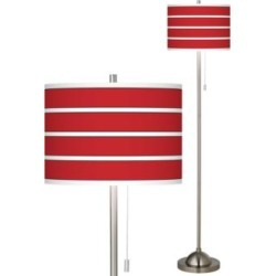 Giclee Bold Red Stripe Brushed Nickel Pull Chain Floor Lamp (27A13) found on Bargain Bro from Lamps Plus for USD $136.79