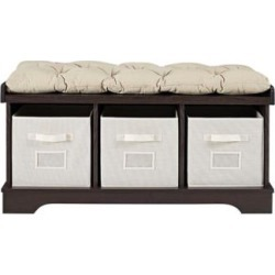 Carvallo Espresso 3-Cubby Storage Bench with Bins (24W13) found on Bargain Bro India from Lamps Plus for $199.91