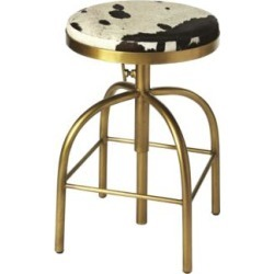 Grogan Hair-On-Hide Leather Adjustable Swivel Bar Stool (77J97) found on Bargain Bro India from Lamps Plus for $419.00