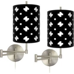 Crossroads Tessa Brushed Nickel Swing Arm Wall Lamps Set of 2 (137C0) found on Bargain Bro from Lamps Plus for USD $151.99