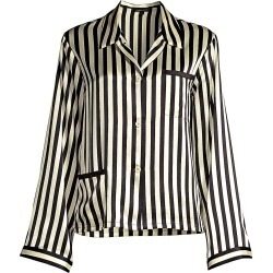 Morgan Lane Women's Ruthie Striped Silk Charmeuse Pajama Top - Ecru Noir - Size Small found on MODAPINS from Saks Fifth Avenue for USD $350.00