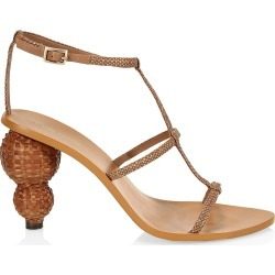 Cult Gaia Women's Eden Bauble-Heel Woven Metallic Sandals - Natural - Size 5 found on MODAPINS from Saks Fifth Avenue for USD $156.75