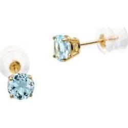 Boutons d'oreilles en or jaune 10 ct avec aigue-marine de mars