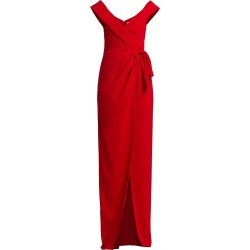 ML Monique Lhuillier Women's Off-The-Shoulder Side Slit Crepe Gown - Cherry - Size 6 found on MODAPINS from Saks Fifth Avenue for USD $495.00