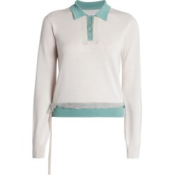 Maison Margiela Women's Décortiqué Wool-Blend Polo Sweater - Stone Cloudy Sky - Size XS found on MODAPINS from Saks Fifth Avenue for USD $745.00