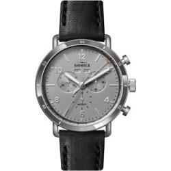Montre chronographe en acier inoxydable avec bracelet en cuir
