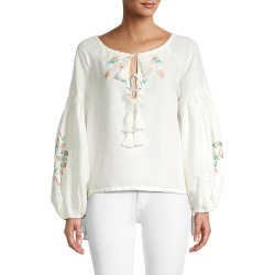 All Things Mochi Women's Embroidered Linen Top - Off White - Size XL found on MODAPINS from Saks Fifth Avenue OFF 5TH for USD $99.99