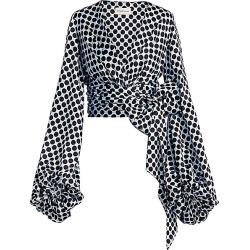 Alexandre Vauthier Women's Polka Dot Blouson Sleeve Tie-Waist Blouse - Sky - Size 44 (12) found on MODAPINS from Saks Fifth Avenue for USD $1010.25