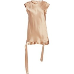 Satin Draped-Hem Muscle Tee
