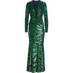 Amen Women's Leopard-Embroidered Sequin Long-Sleeve Gown - Emerald Green - Size 48 (12) found on MODAPINS from Saks Fifth Avenue for USD $2781.00