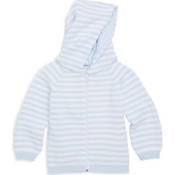 Kissy Kissy Baby Boy's Rugby Stripe Knit Hooded Cotton Jacket - White Light Blue - Size 9 Months