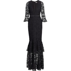 ML Monique Lhuillier Women's Three-Quarter Sleeve Lace Trumpet Gown - Jet - Size 8 found on Bargain Bro India from Saks Fifth Avenue for $278.00
