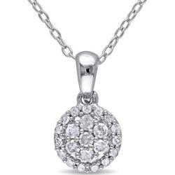Collier en argent sterling avec grappe et auréole de diamants 0,25 ct PT