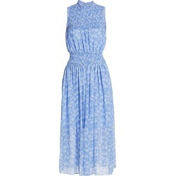 ML Monique Lhuillier Women's Printed Sleeveless Smocked Dress - White Cornflower Combo - Size 2 found on MODAPINS from Saks Fifth Avenue for USD $110.36