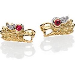 John Hardy Legends Naga Ruby, Diamond, Sterling Silver & 18K Yellow Gold Stud Earrings - Gold