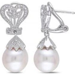 Pendants d'oreilles en argent sterling avec diamants 0,06 ct PT et perle blanche