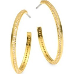 Raise The Bar 12K Yellow Goldplated & Cubic Zirconia Pave Hoop Earrings