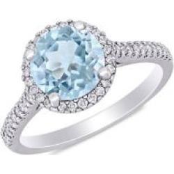 14K White Gold, Aquamarine & Diamond Engagement Ring