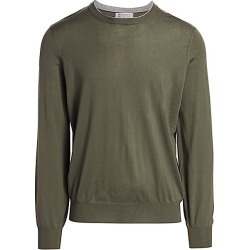 Brunello Cucinelli Men's Suede Elbow Patch Crew Sweater - Army - Size 54 (44) found on MODAPINS from Saks Fifth Avenue for USD $795.00