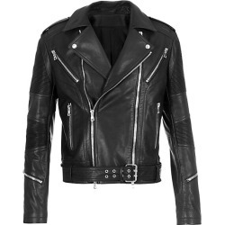 Balmain Men's Rib-Patch Leather Moto Jacket - Noir - Size 50 (40) found on MODAPINS from Saks Fifth Avenue for USD $5350.00