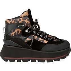 Ash Women's Sonic Zebra-Print Trimmed Mixed-Media Hiker Boots - Black - Size 39 (9) found on MODAPINS from Saks Fifth Avenue for USD $275.00