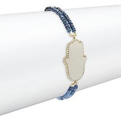 Hamsa Hand Diamond, Sapphire, 14K Yellow Gold & Silver Bracelet