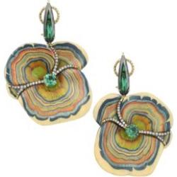 Marquetry 18K Yellow Gold, Green Tourmaline, Tsavorite & LIght Brown Diamond Sculptural Mushroom Earrings