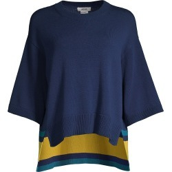 Jason Wu Women's Three-Quarter Sleeve High-Low Sweater - Spring Navy Multi - Size XL found on MODAPINS from Saks Fifth Avenue for USD $395.00