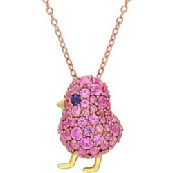 Two-Tone Sterling Silver Created Blue & Pink Sapphire Cluster Bird Necklace