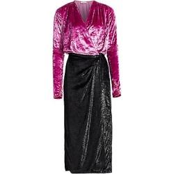 Attico Women's Velvet & Satin Midi Robe Dress - Dark Pink Black - Size 42 (8) found on MODAPINS from Saks Fifth Avenue for USD $556.40