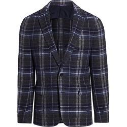 Ralph Lauren Purple Label Men's Hadley Two-Button Plaid Cashmere Jacket - Charcoal Natural - Size 42 R