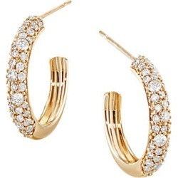 "LANA JEWELRY Women's Flawless 14K Yellow Gold & Diamond Thin Curve Huggies/0.5"" - Gold"