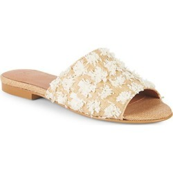 Raffia & Pom-Pom Slider Sandals