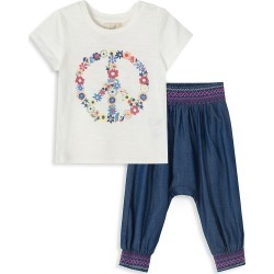 Peek Baby Girl's Doloris 2-Piece Graphic T-Shirt & Pants Set - Off White - Size 12-18 Months found on MODAPINS from Saks Fifth Avenue OFF 5TH for USD $19.99