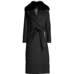 Mackage Women's Silver Fox Fur Collar Wool-Blend Coat - Black - Size Medium