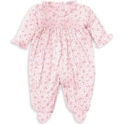 Kissy Kissy Baby Girl's Dusty Rose Smocked Print Footie - Pink - Size 0-3 Months