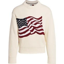 Hilfiger Edition Men's Ribbed American Flag Sweater - White Yellow - Size XL