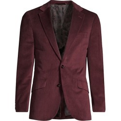 Robert Graham Men's Classic-Fit Wilkes Illusion Houndstooth Single-Breasted Jacket - Burgundy - Size 44