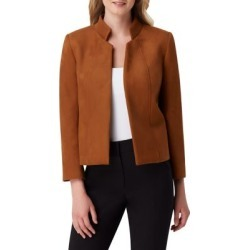 Faux-Suede Stand Collar Jacket