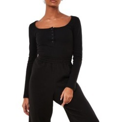Ribbed Long-Sleeve Bodysuit
