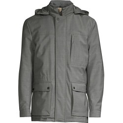 Canali Men's Modern-Fit Hooded Wool-Blend Coat - Grey - Size 54 (44)