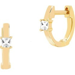 EF Collection Women's 14K Yellow Gold & White Quartz Princess Mini Huggie Hoop Earrings - Gold found on Bargain Bro from Saks Fifth Avenue for USD $376.20