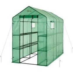 Extra-Large Heavy-Duty Walk-In 2-Tier 12-Shelf Portable Lawn & Garden Greenhouse