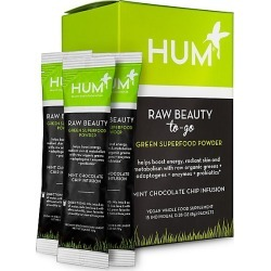 Hum Nutrition Women's Raw Beauty To-Go Skin & Energy Green Superfood Powder