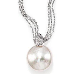 Majorica Women's 18MM White Coin Pearl & Sterling Silver Triple-Chain Pendant Necklace - Pearl found on Bargain Bro Philippines from Saks Fifth Avenue for $140.00